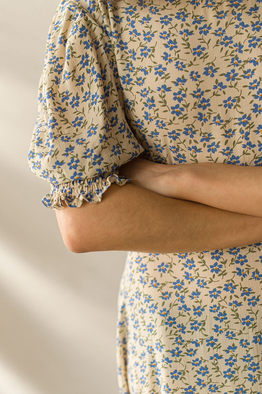 Posy Puff Sleeve Dress, Blue