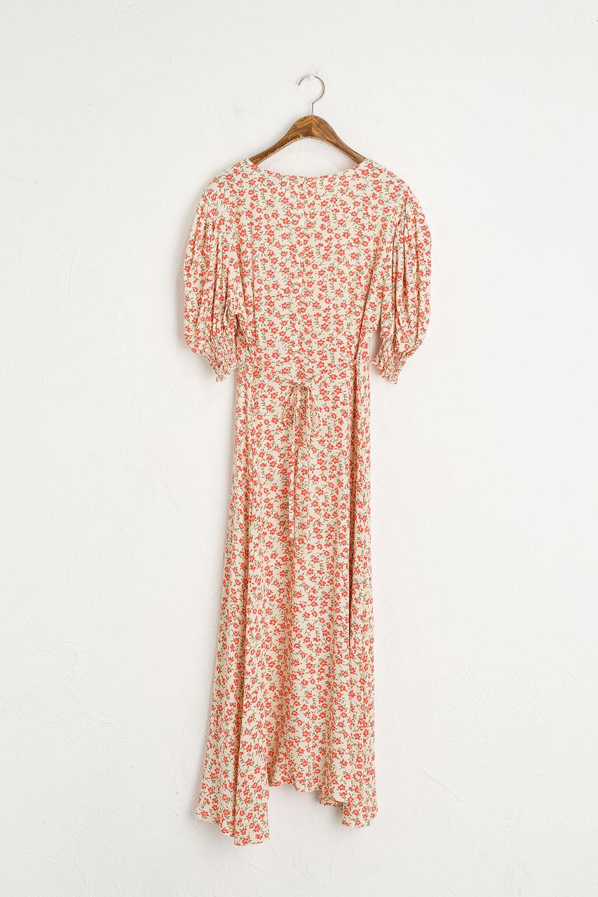 Posy Puff Sleeve Dress, Coral