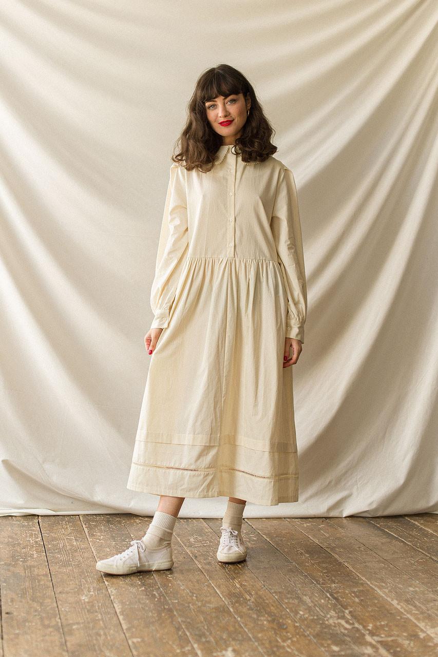 Peter Pan Collar Cotton Dress, Cream