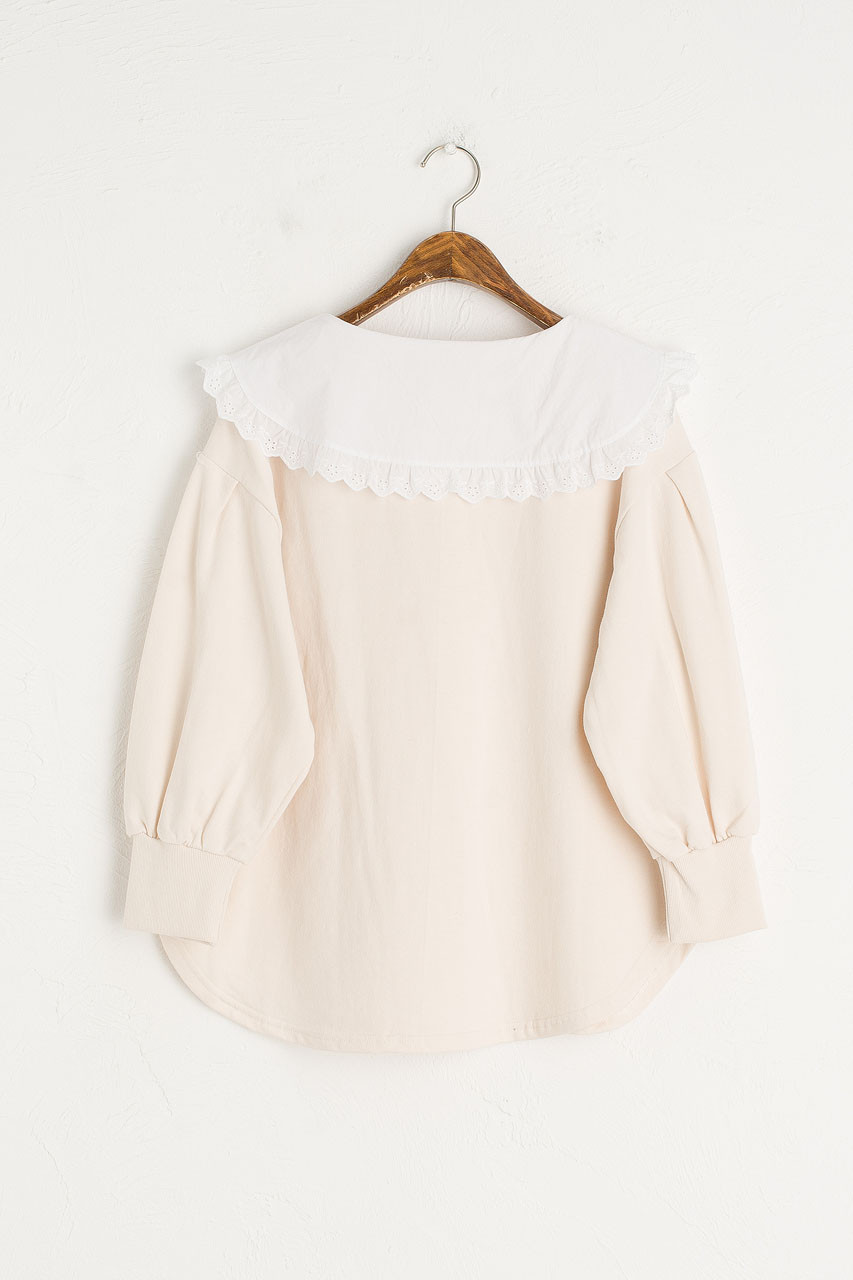Lace Collar Sweatshirt, Ivory