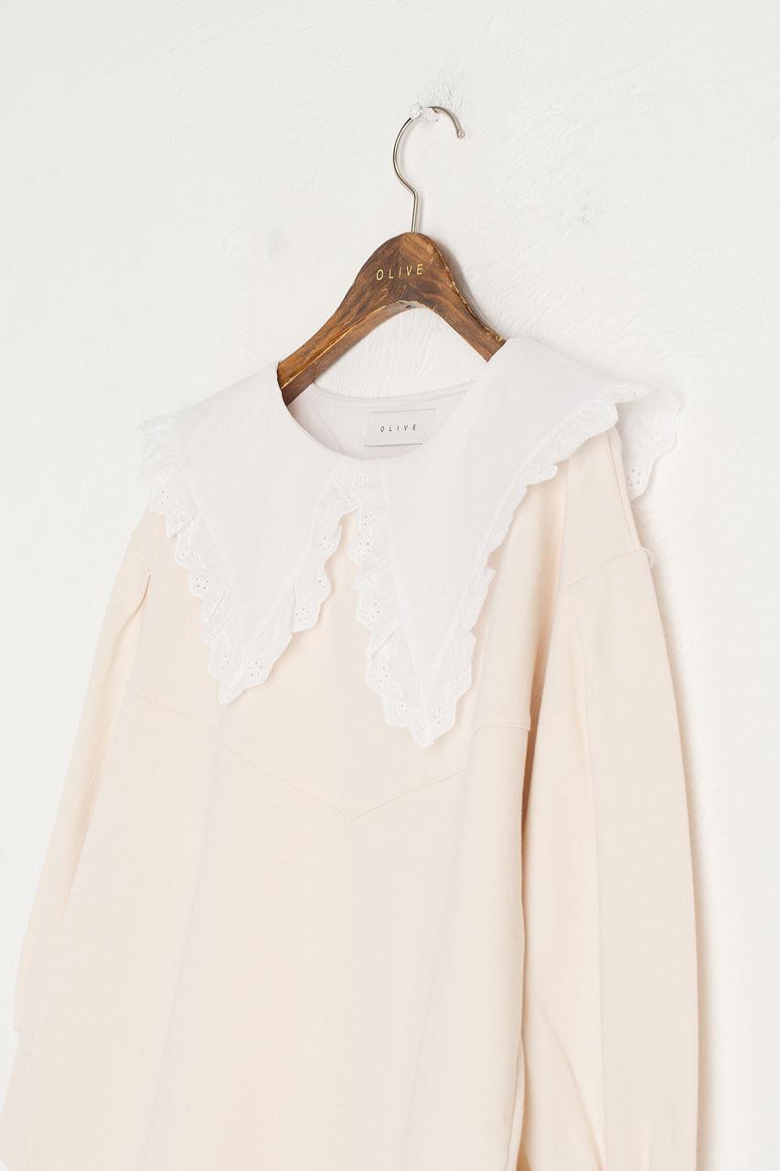 Lace Collar Sweatshirt, Ivory