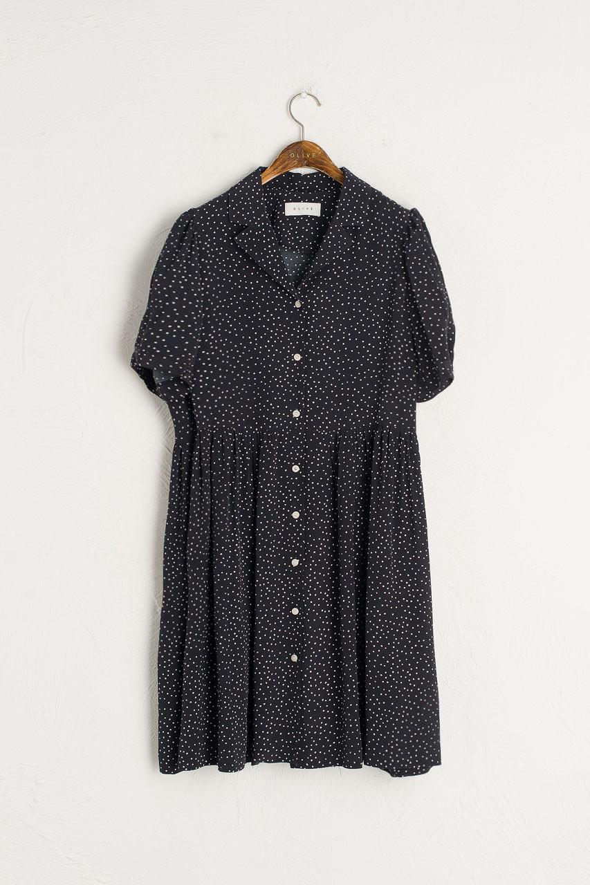 Dotty Babydoll Dress, Black