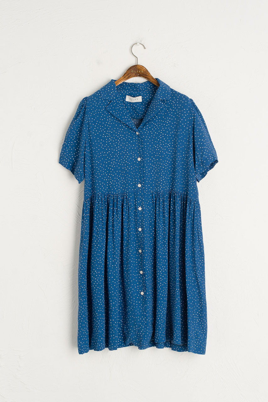 Dotty Babydoll Dress, Blue