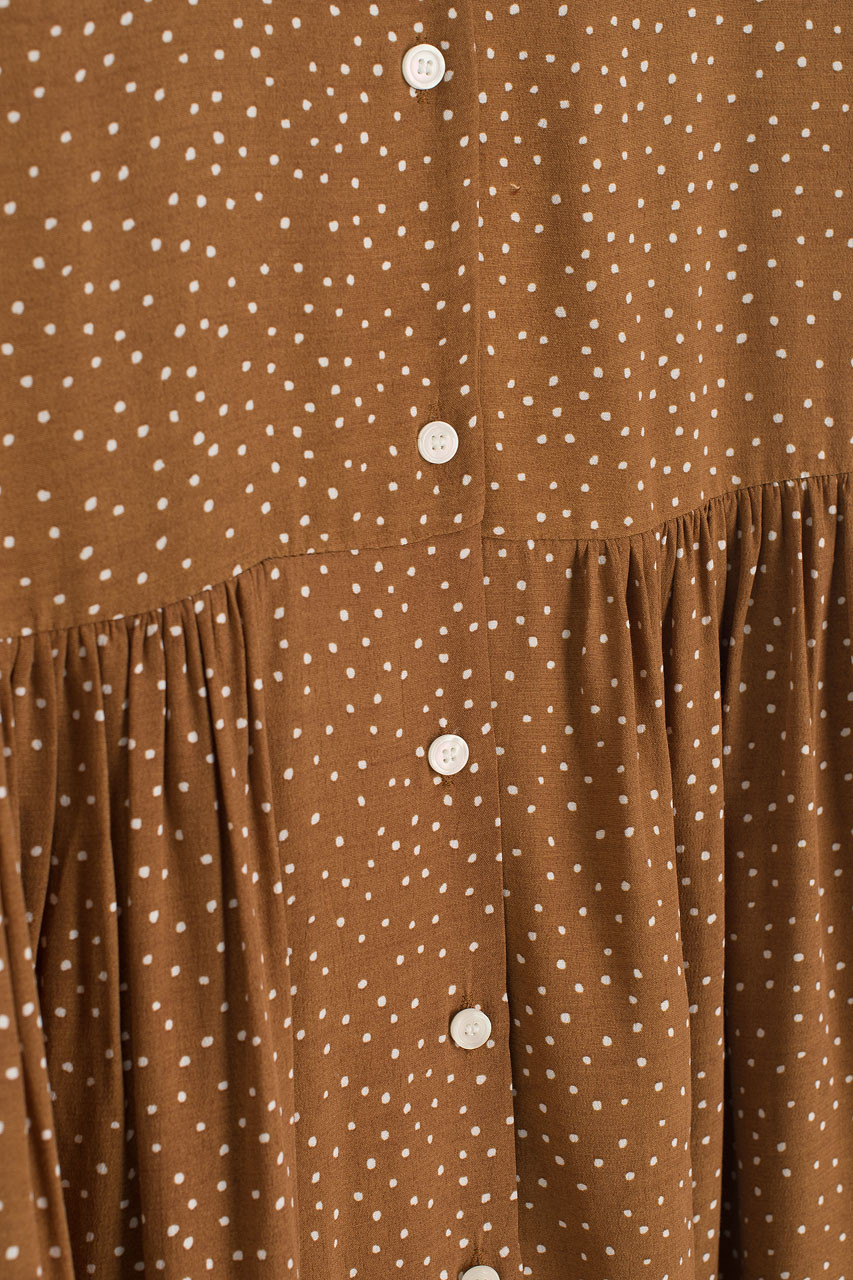Dotty Babydoll Dress, Brown