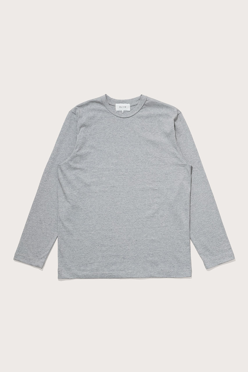 Menswear | Boxy Long Sleeve Tee, Grey Marl