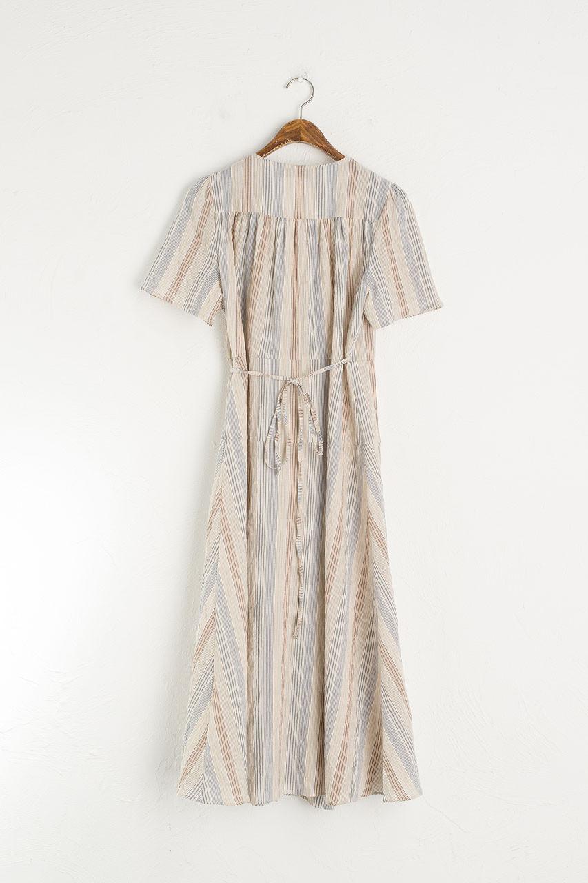 Pastel Stripe Wrap Dress, Blue