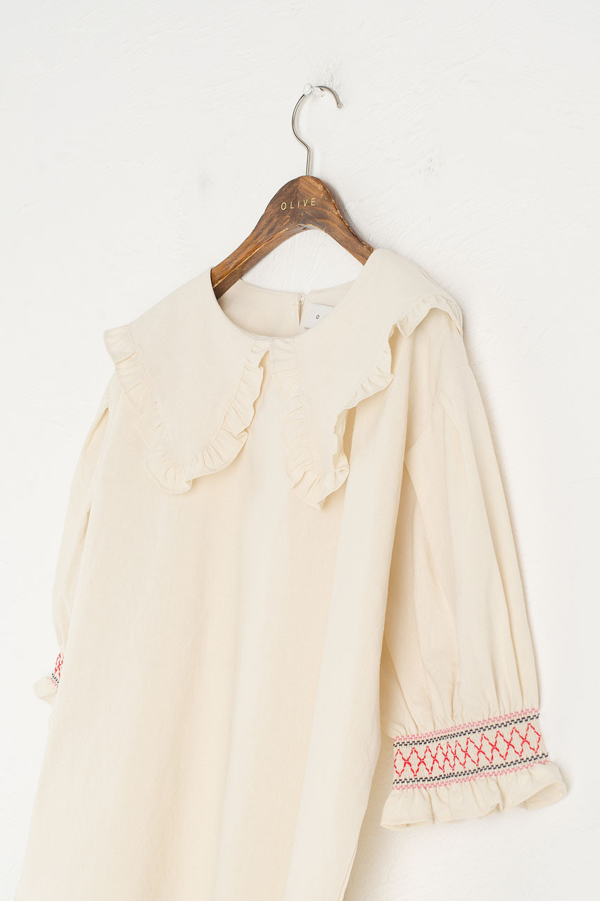 Embroidered Sleeve Blouse, Beige