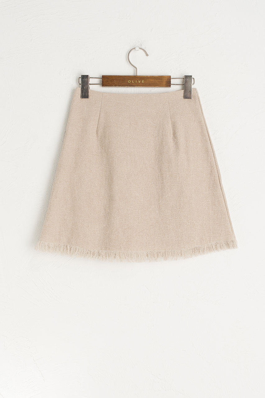 Fringe Mini Skirt, Beige