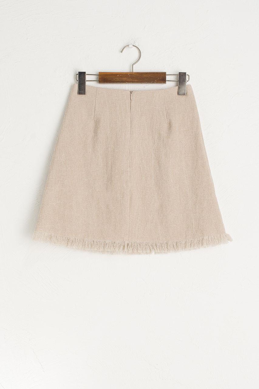 Fringe Mini Skirt, Beige