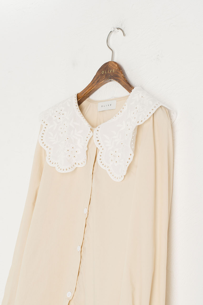 Doily Collar Blouse, Beige