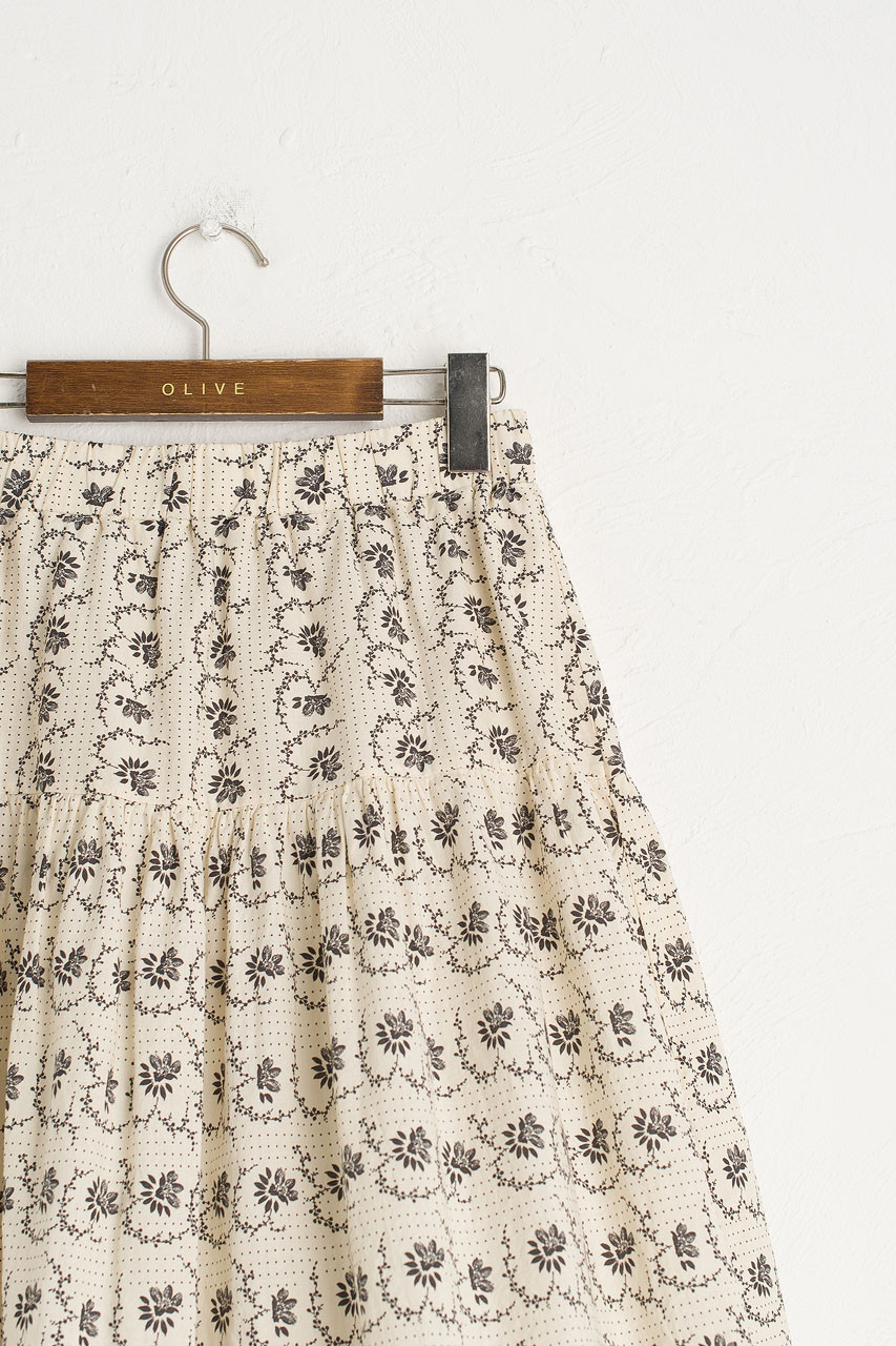 Esme Printed Skirt, Black