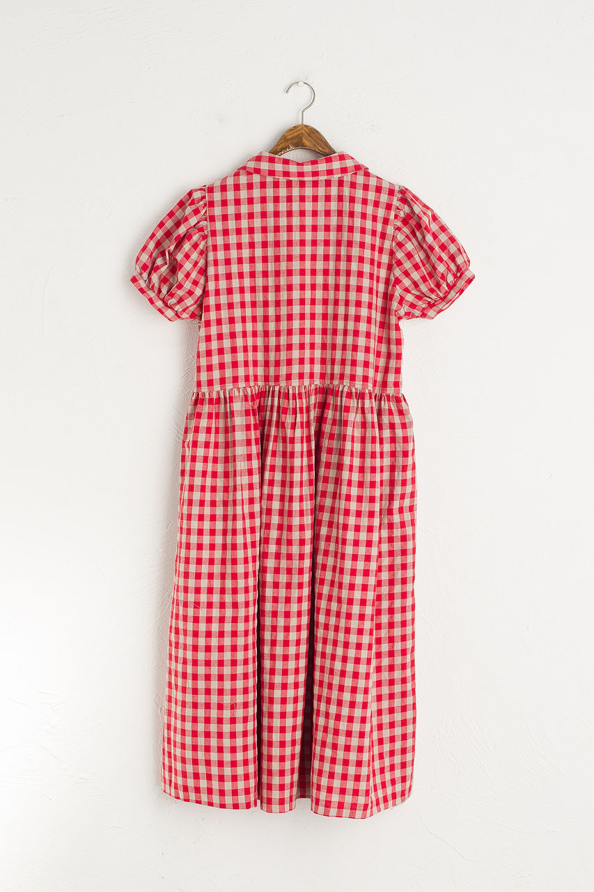 Nancy Gingham Dress, Red