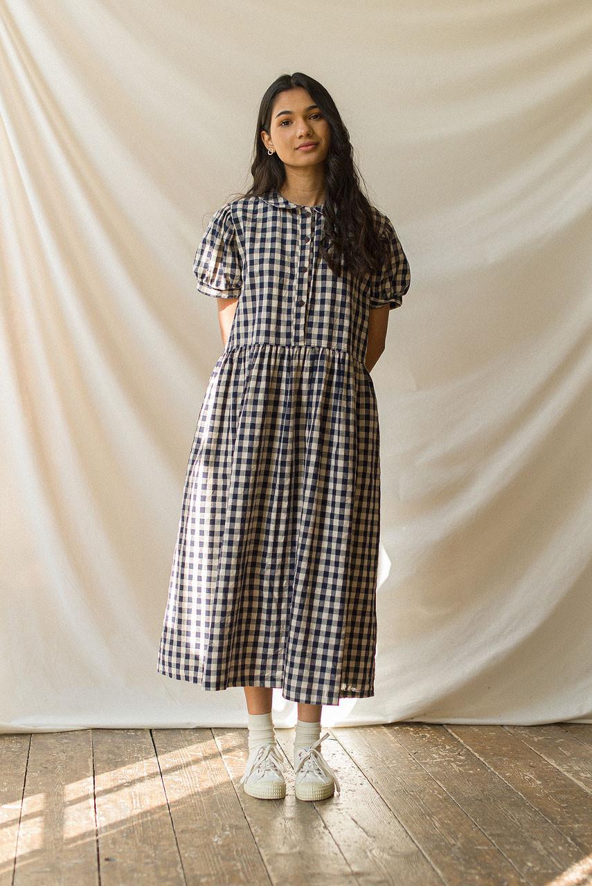 Nancy Gingham Dress, Navy