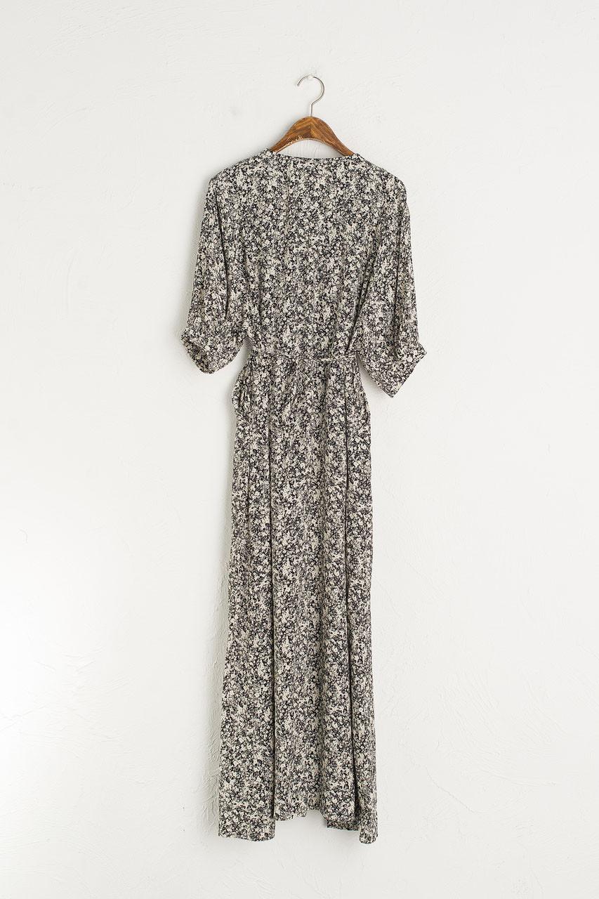 Floral Kimono Dress, Black