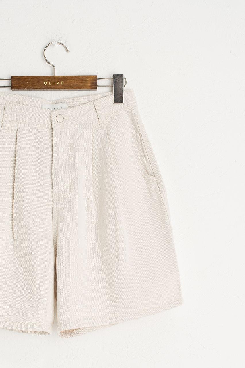 Pintuck Half Denim Short, Cream