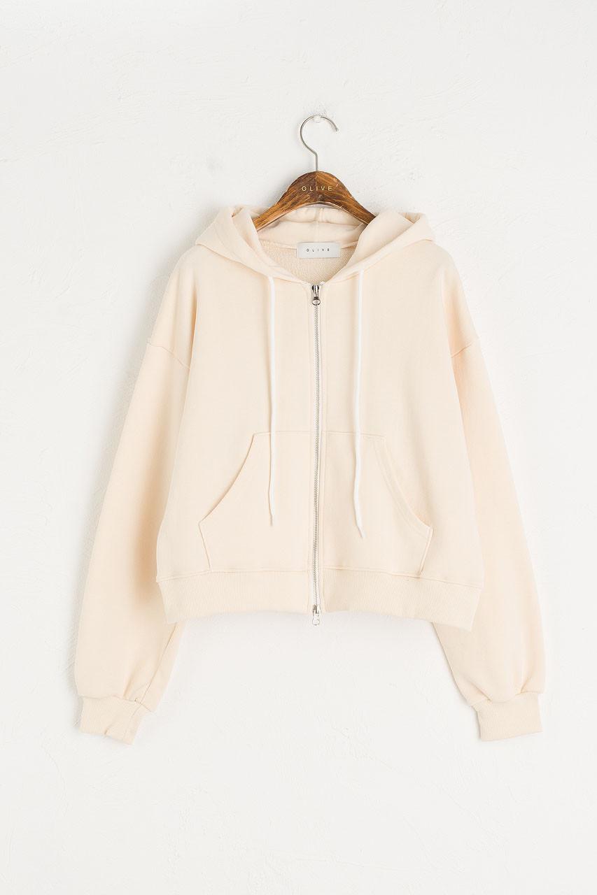 Pastel Zip Up Hoodie, Cream