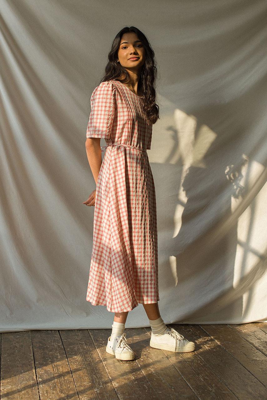 Soft Gingham Dress, Pink