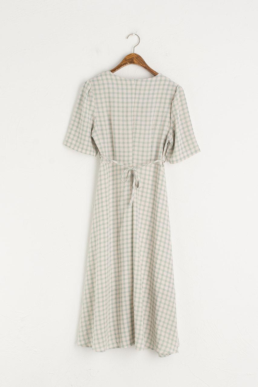 Soft Gingham Dress, Mint