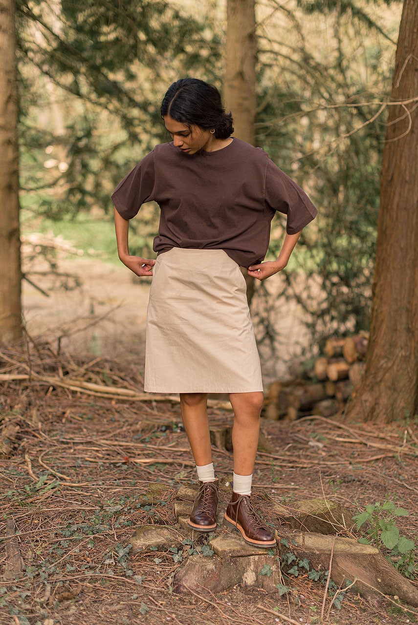 A Line Cotton Mini Skirt, Light Beige