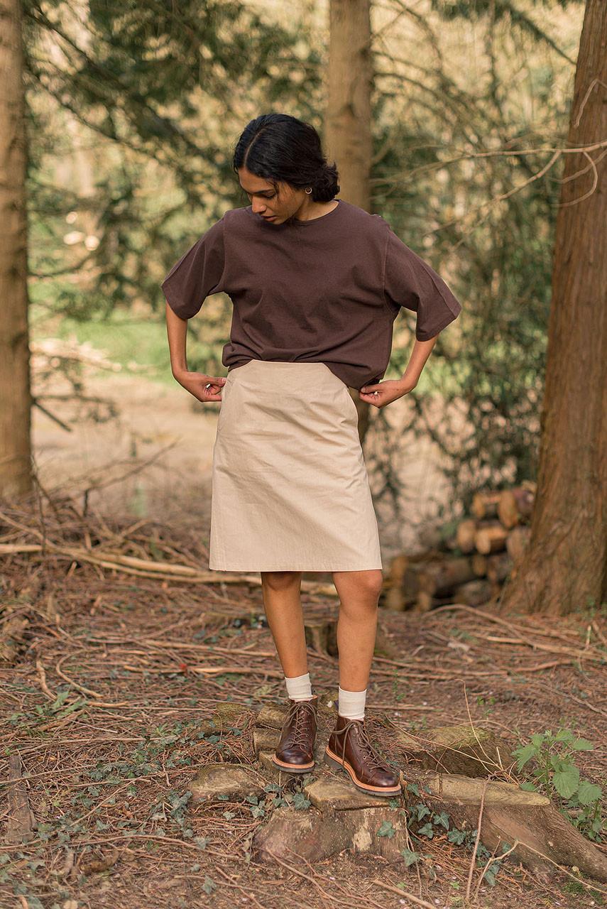 A Line Cotton Mini Skirt, Light Beige