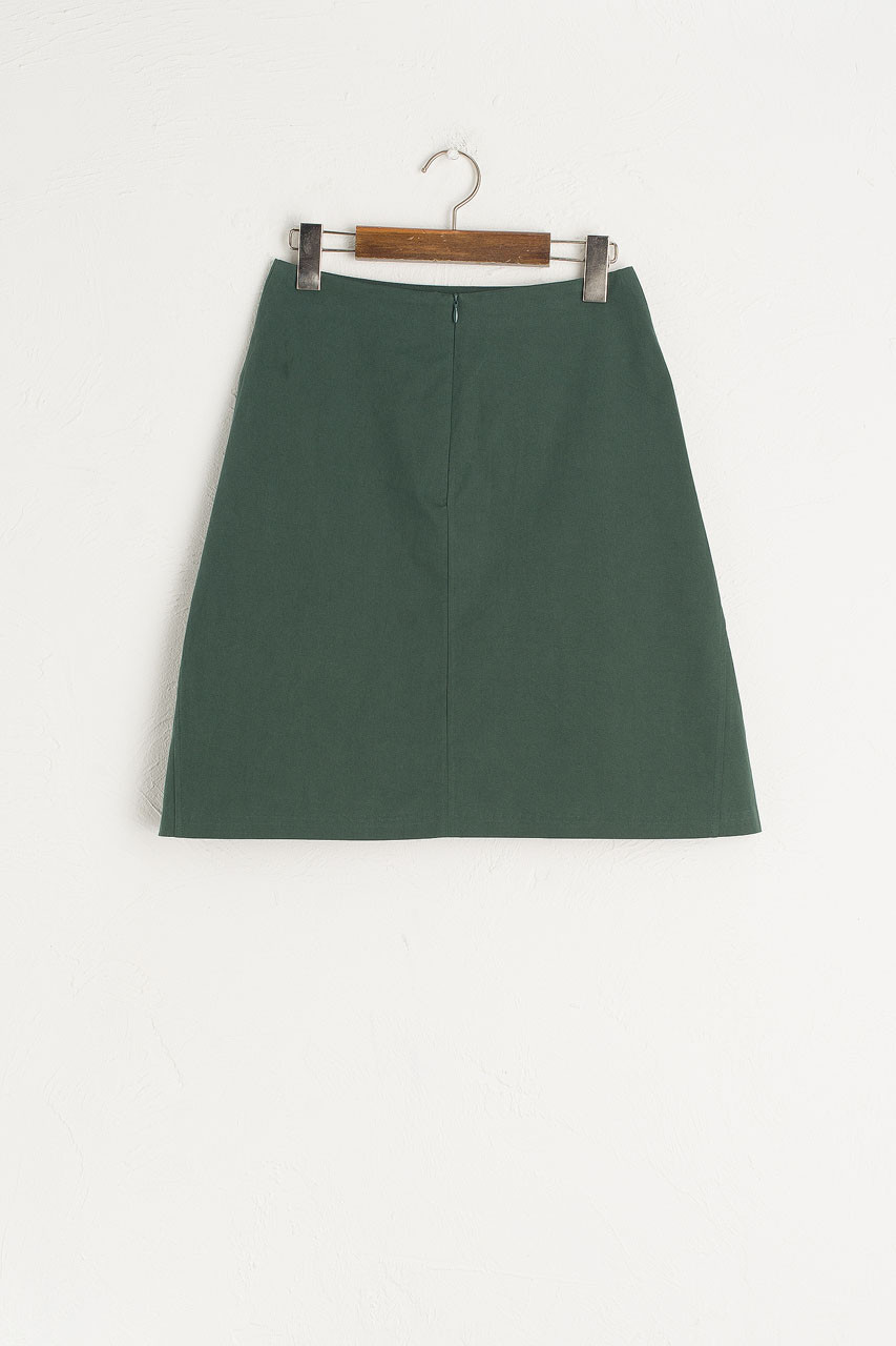A Line Cotton Mini Skirt, Green