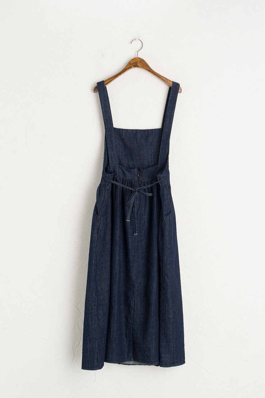 Takako Denim Dungaree Dress, Indigo
