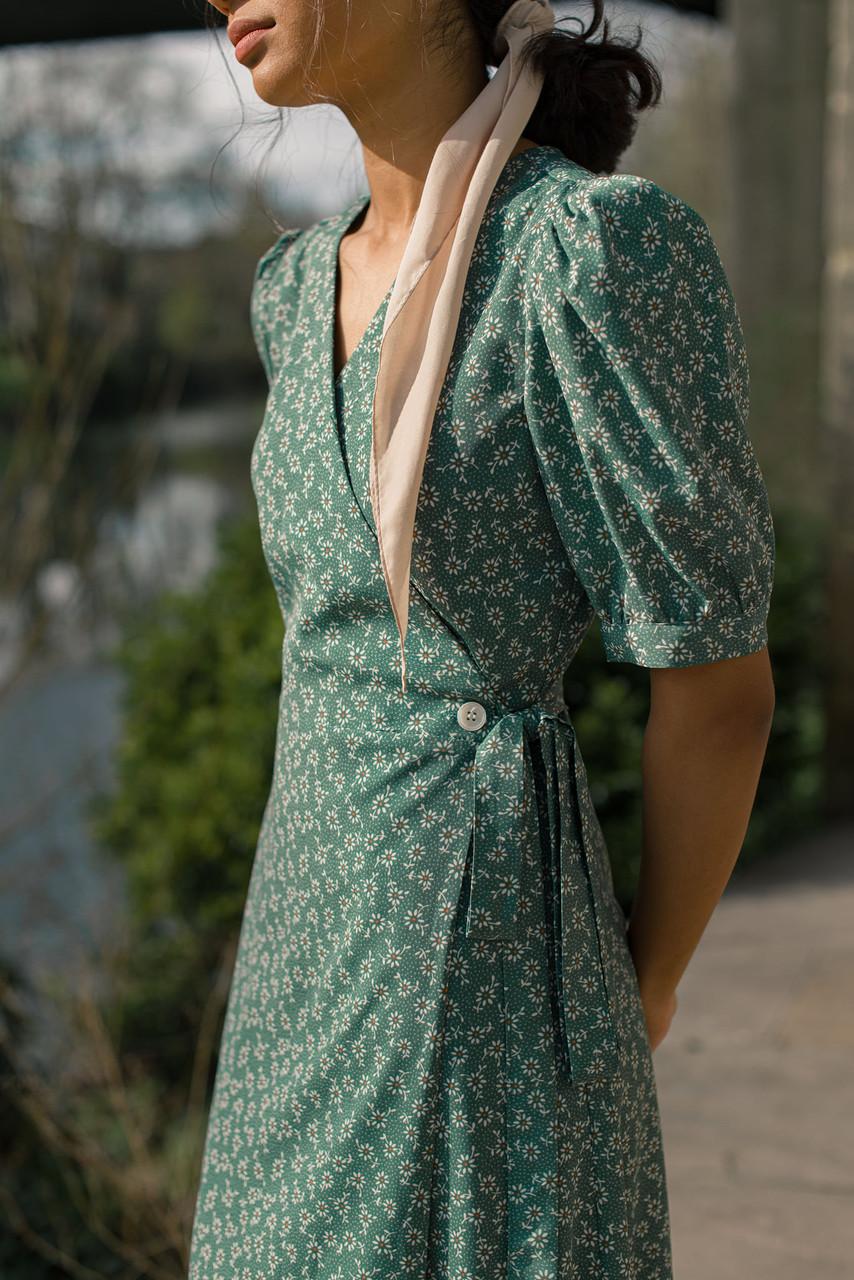 Ayaka Sunflower Wrap Dress, Green