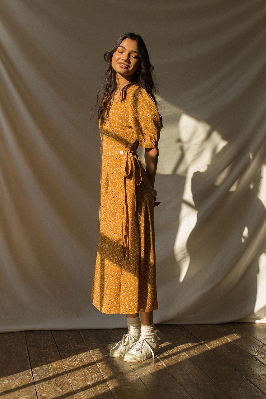 Ayaka Sunflower Wrap Dress, Butterscotch