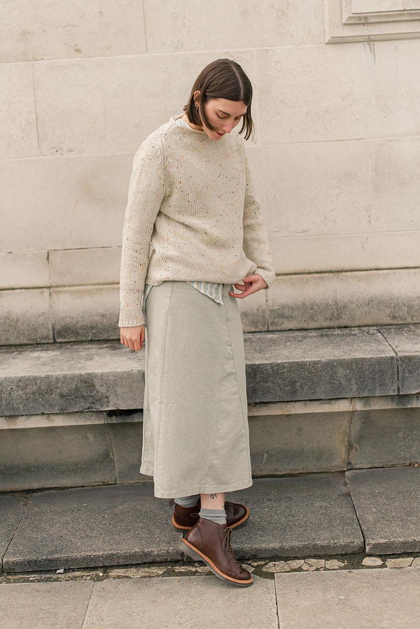 Denim A Line Skirt, Sage