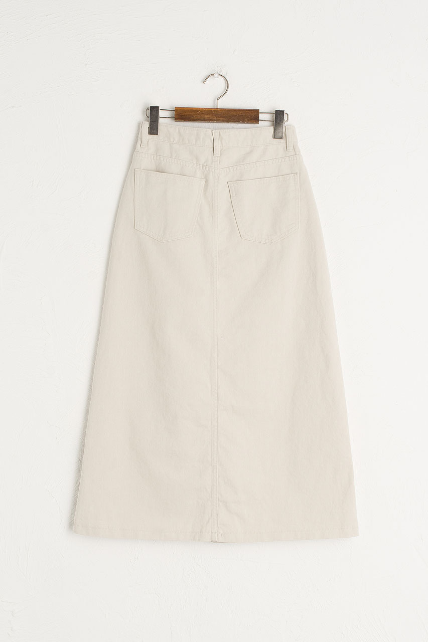 Denim A Line Skirt, Light Beige
