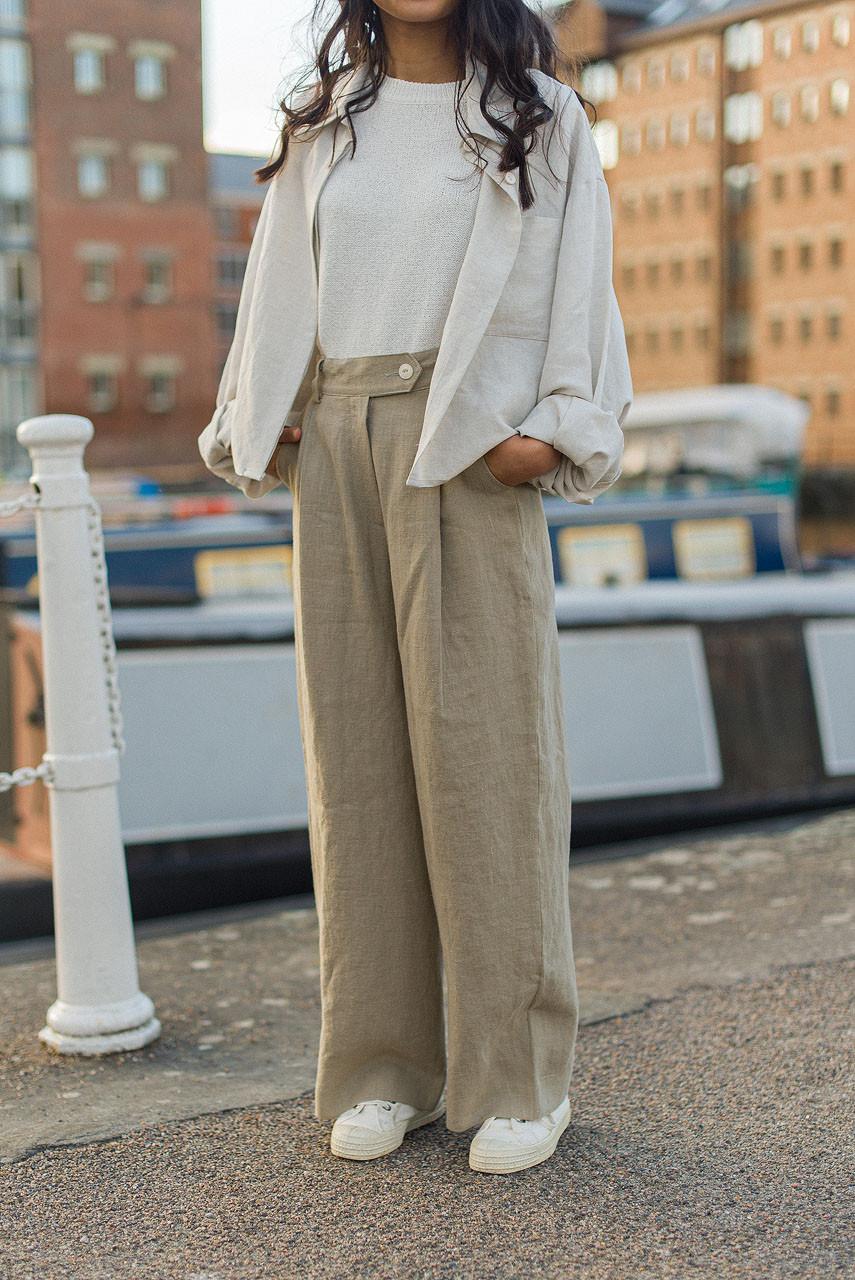 Wide Leg Linen Trousers, Sage