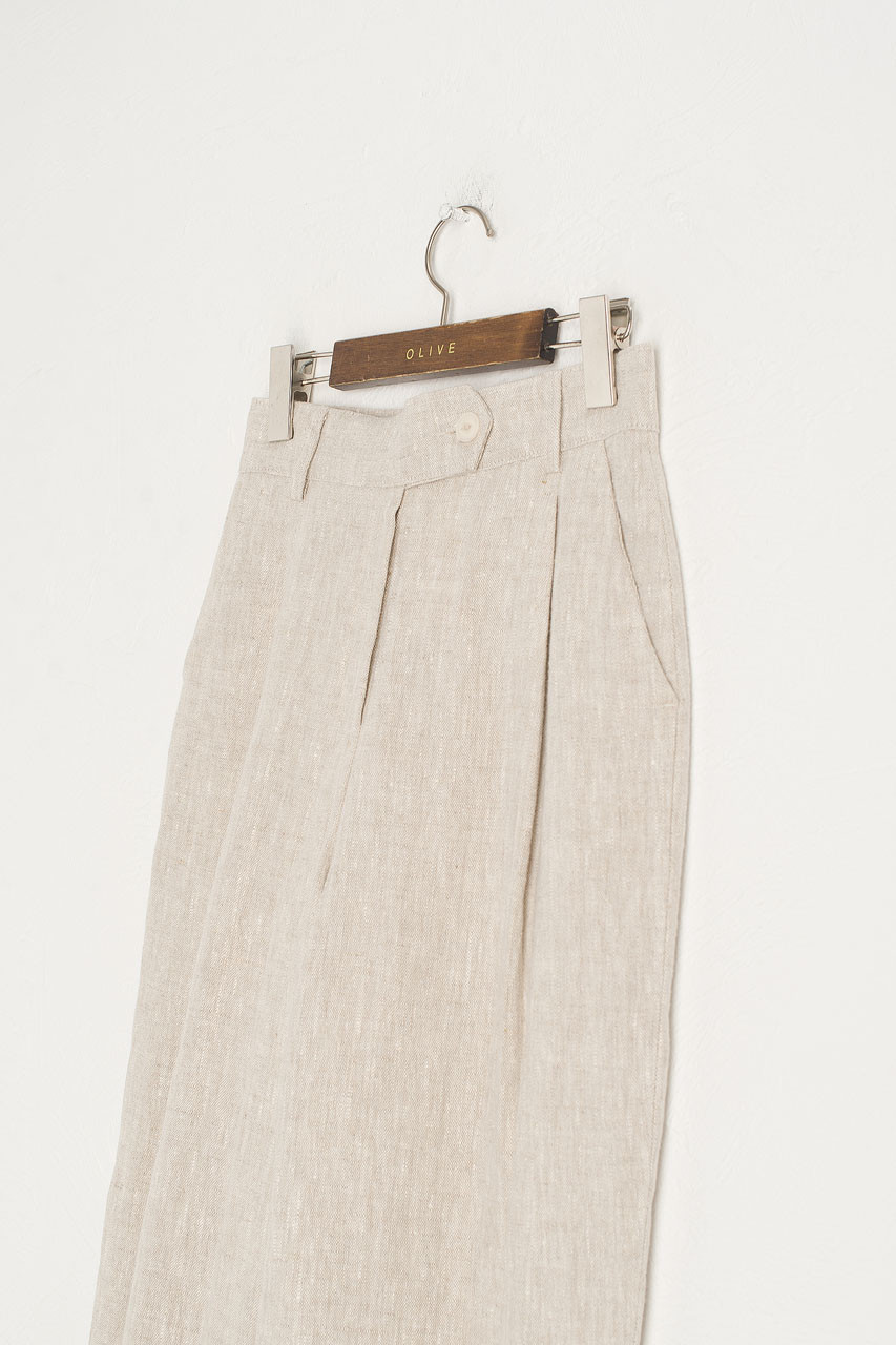 Wide Leg Linen Trousers, Beige