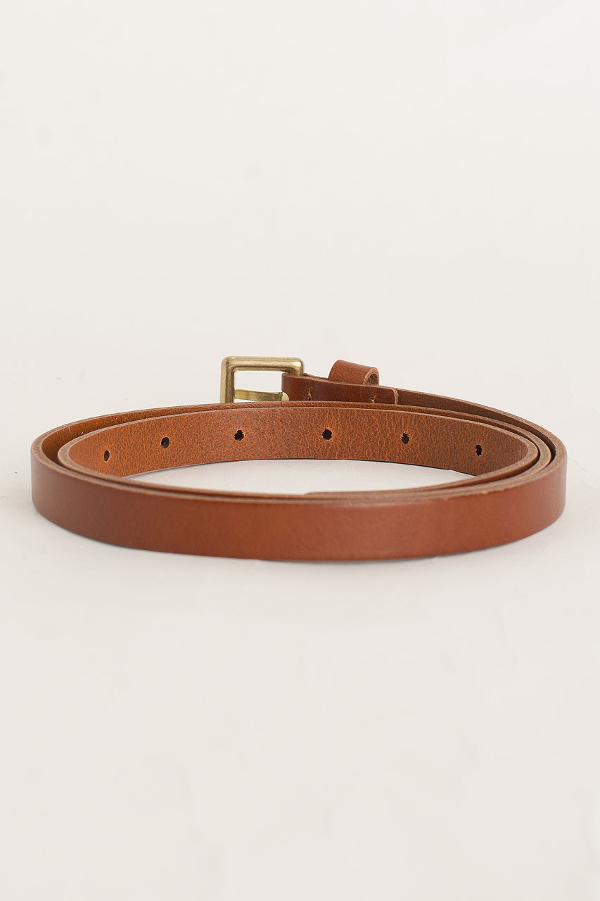 Square Leather Skinny Belt, Brown