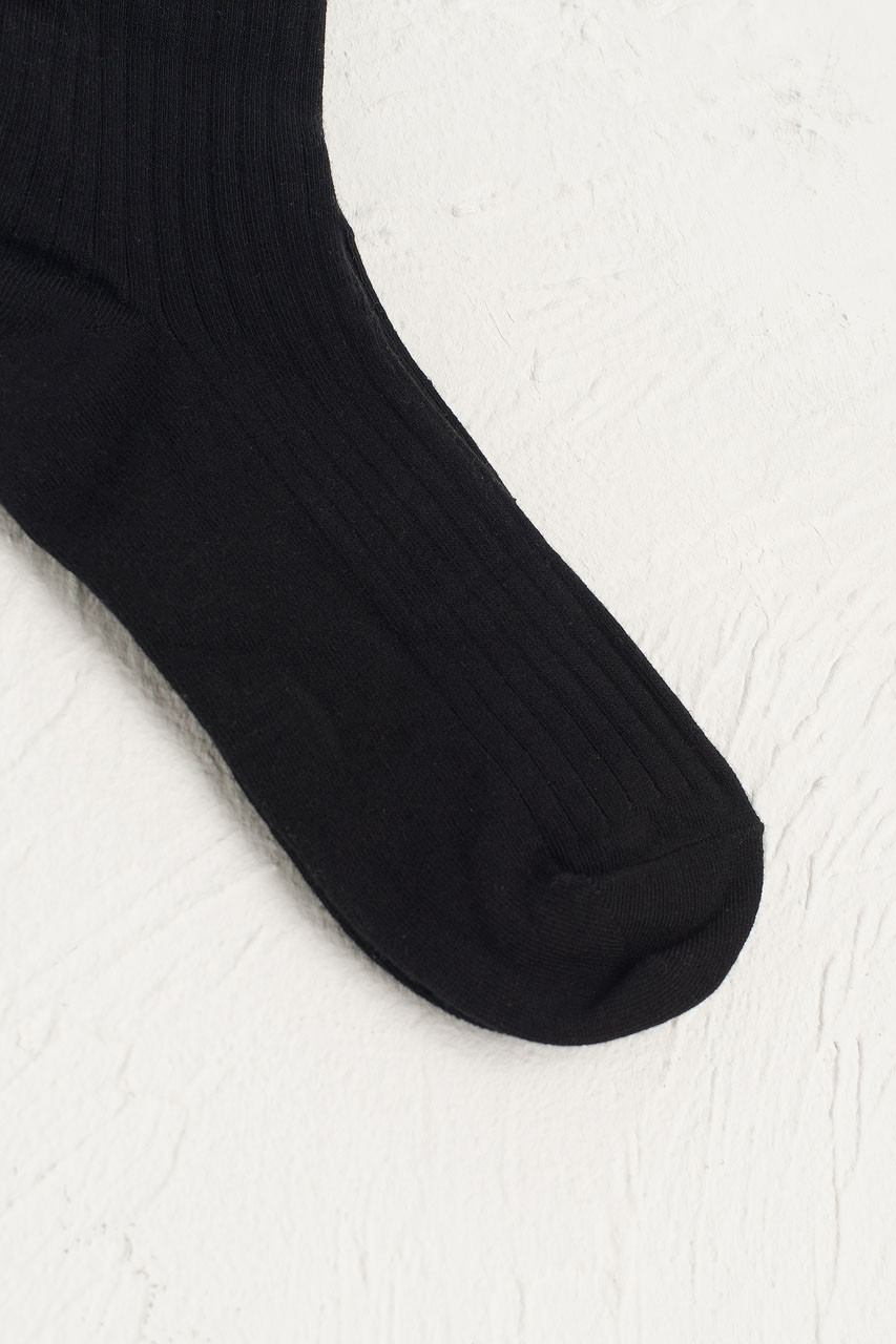 Lace Ankle Ribbed Socks, Black
