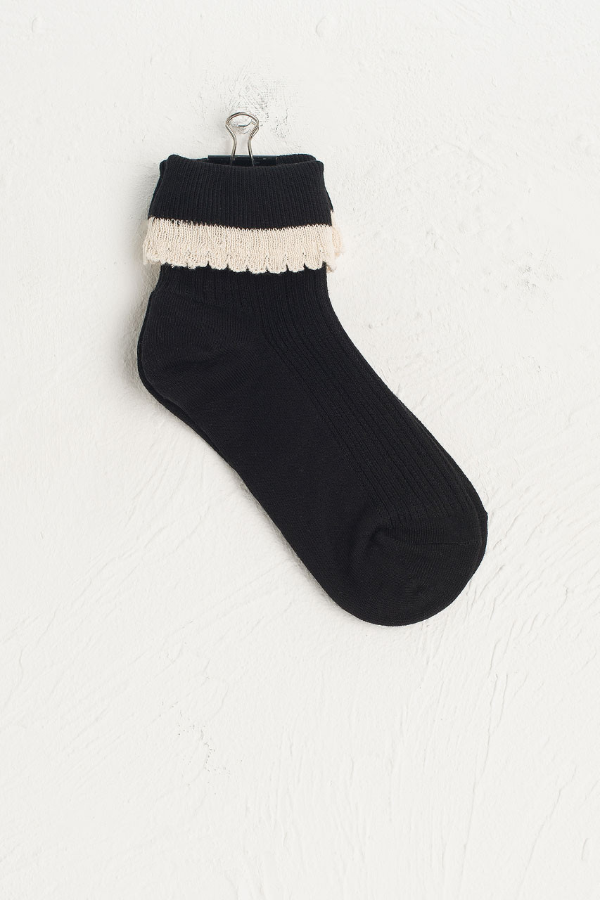 Folded Lace Socks, Black