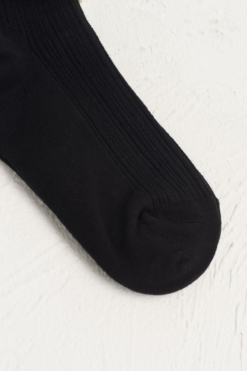 Folded Lace Socks, Black