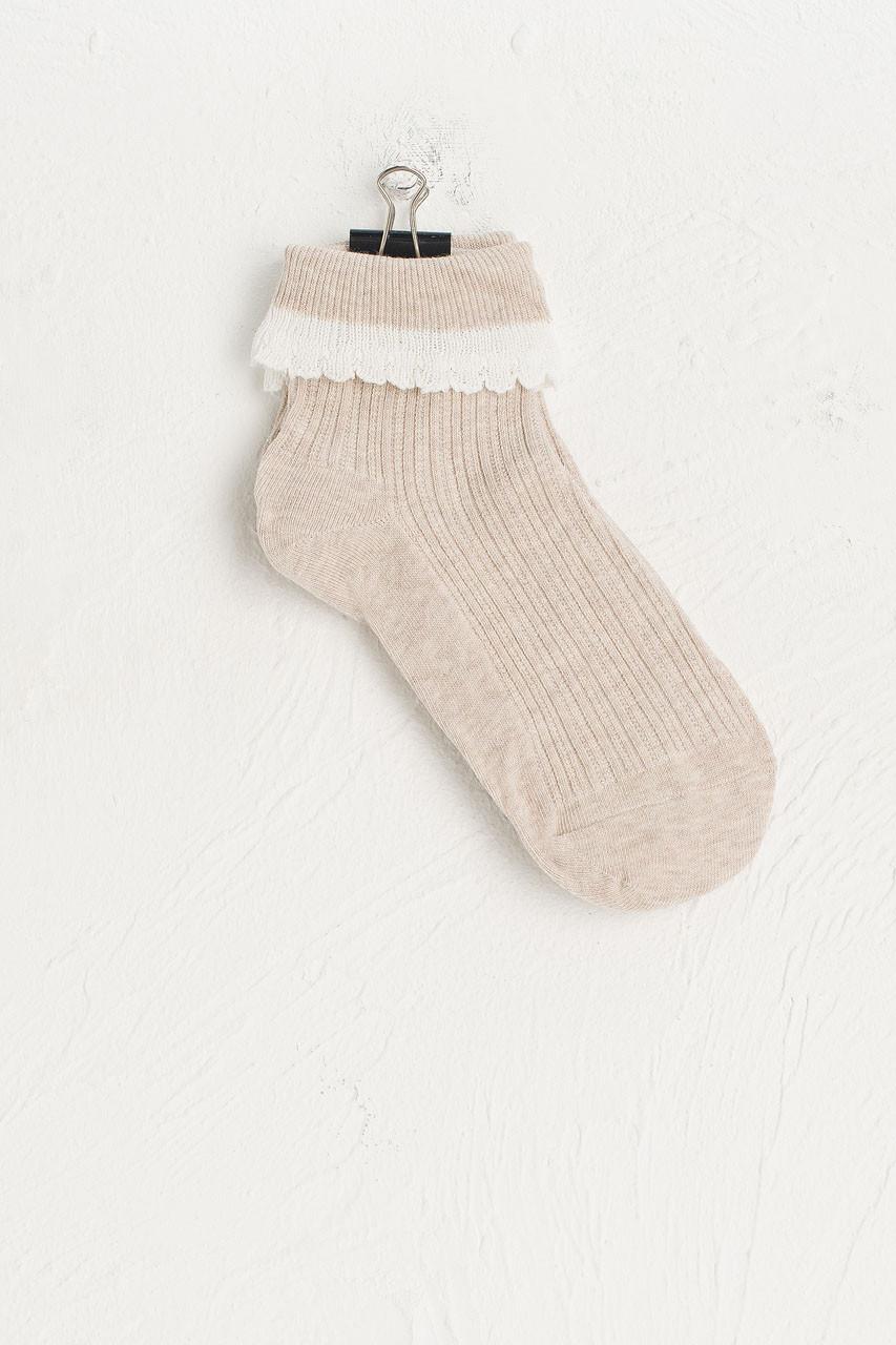 Folded Lace Socks, Beige