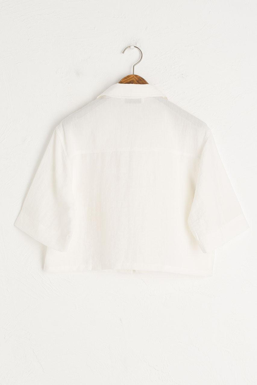 Crop Zip Up Top, Ivory
