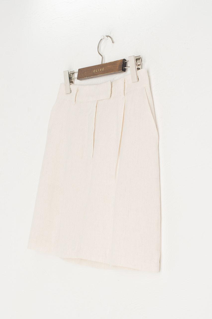 Linen Bermuda Skirt, Ivory