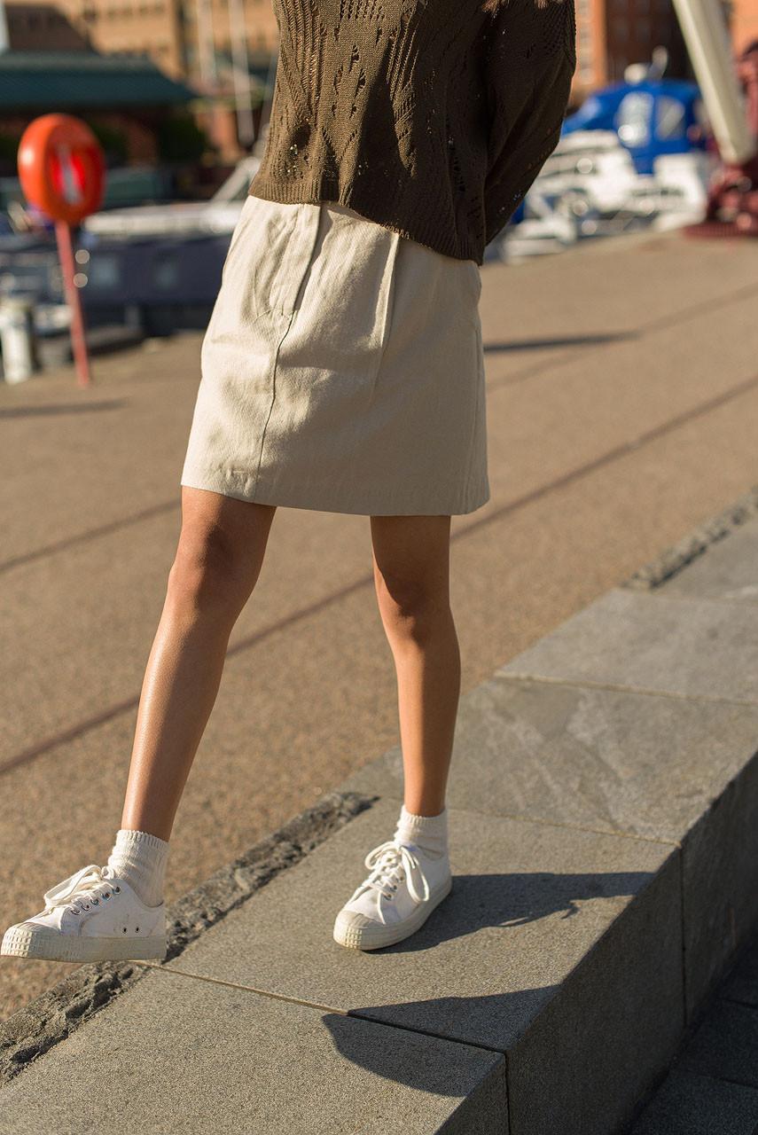 Linen Bermuda Skirt, Beige