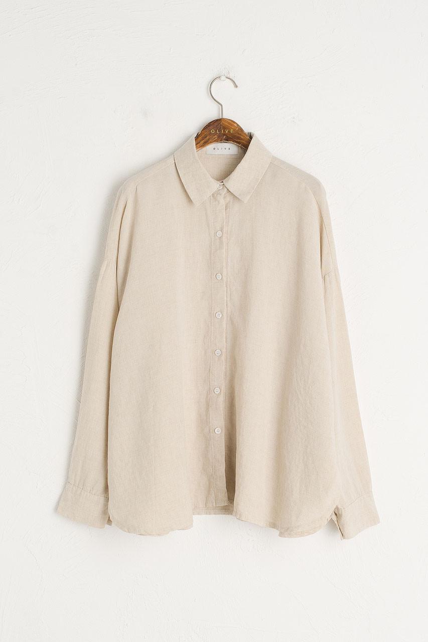 Linen Blend Bona Loose Shirt, Oatmeal