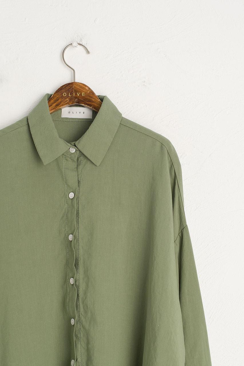 Linen Blend Bona Loose Shirt, Green