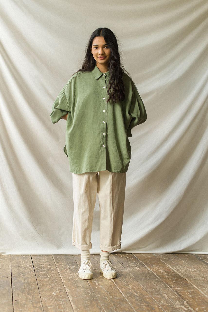 Oversized Linen Shirt, Green