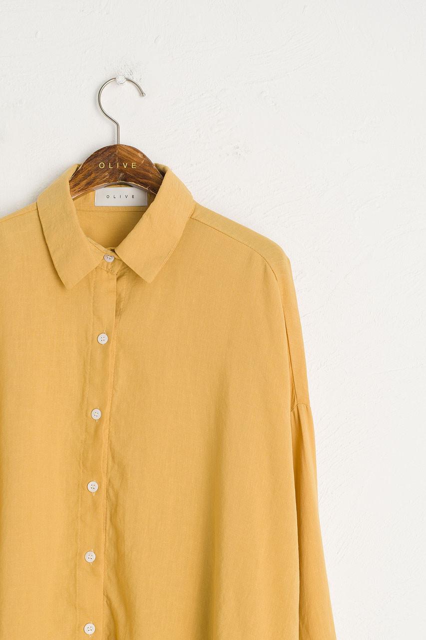Linen Blend Bona Loose Shirt, Mustard