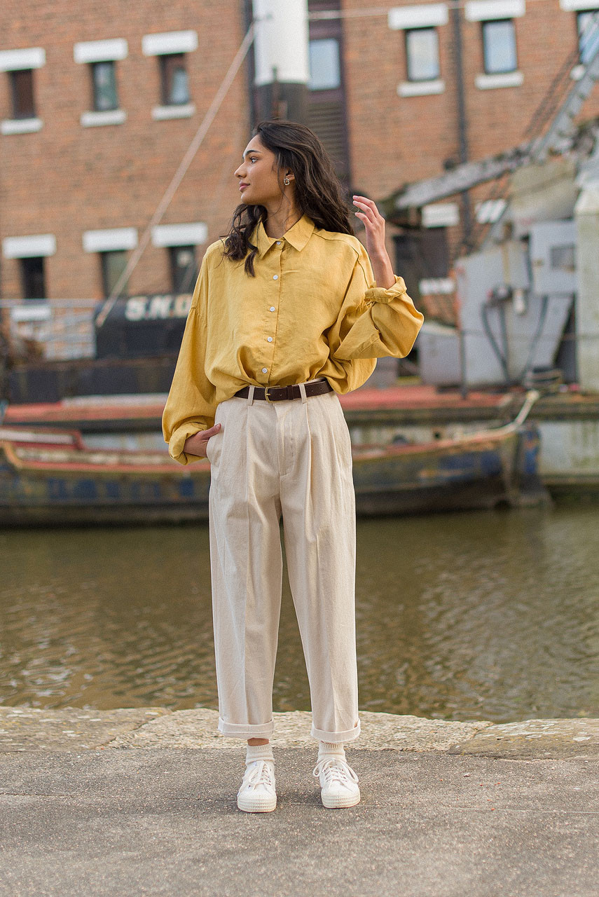 Oversized Linen Shirt, Mustard