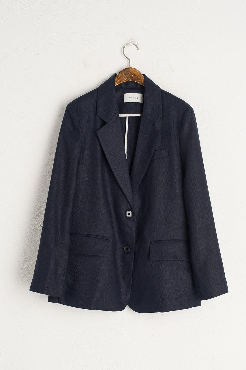 Rina Linen Jacket, Navy