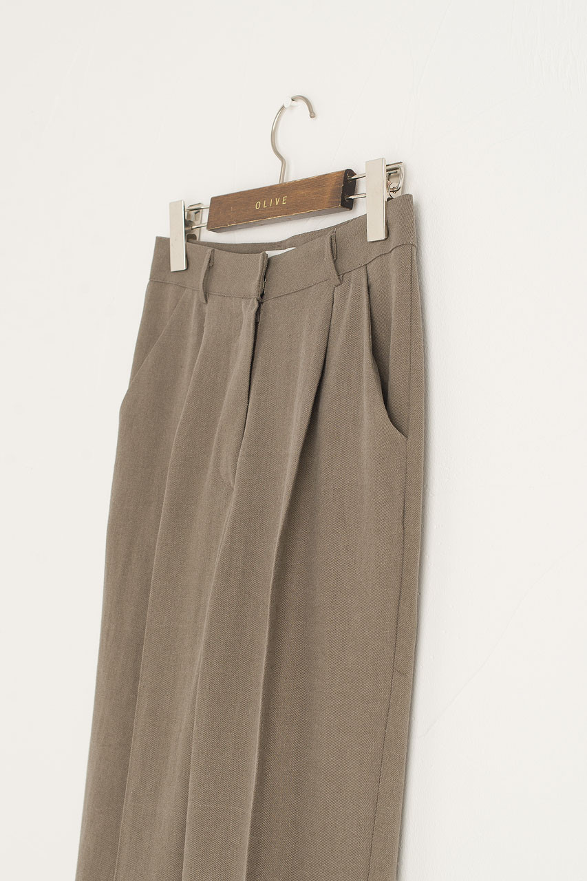 Linen Simple Trousers, Brown