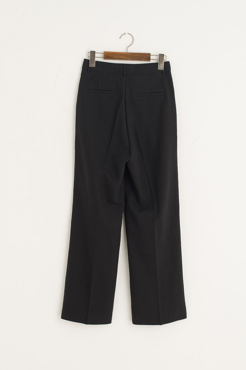 Linen Simple Trousers, Black