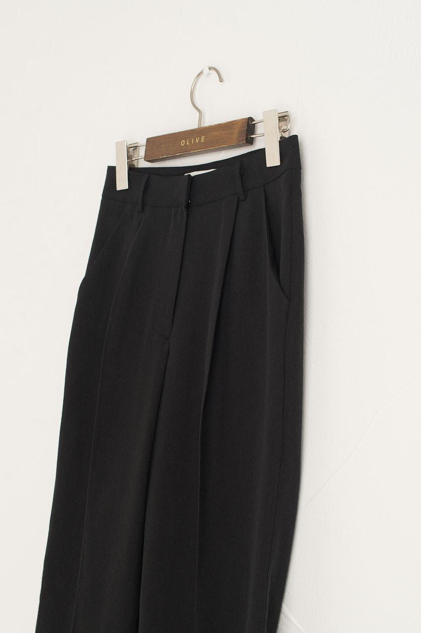 Linen Simple Trousers, Black