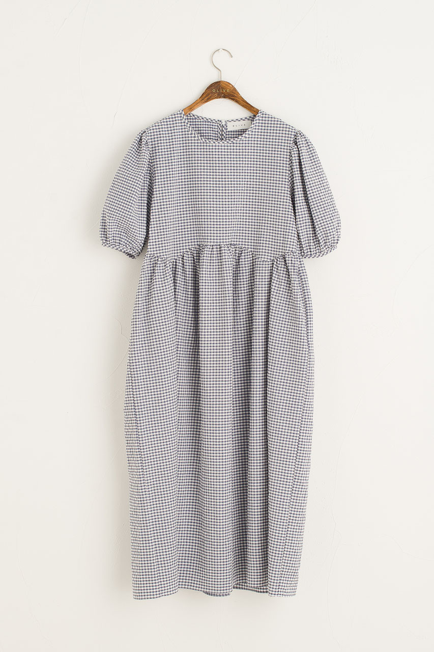 Gingham Puff Sleeve Dress, Blue